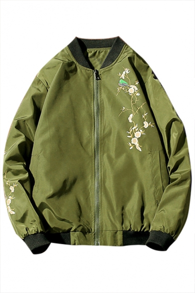 Jacket Collar Stand Printed Sleeve Up Floral Up Baseball Long Zip q7pWgz