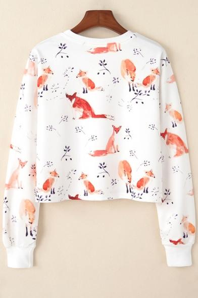 Fox Branch Printed Round Neck Long Sleeve Crop Sweatshirt