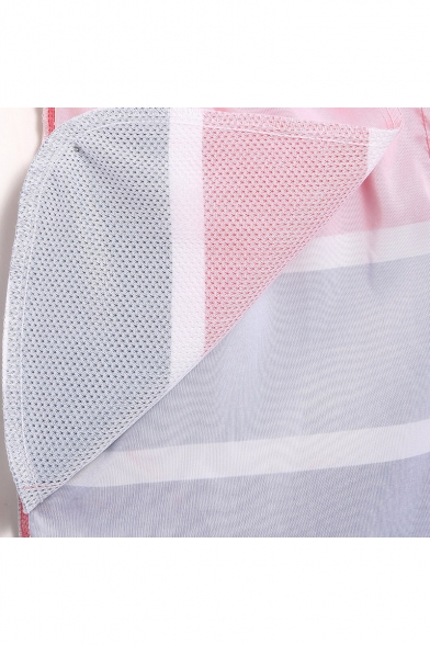 Hot Men's Pink and Blue Colorblocked Swimming Shorts with Mesh Lining Pockets