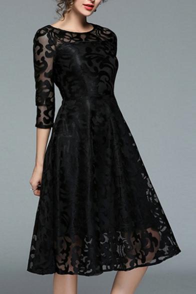 af215d9f19b1 Lace Round Neck Half Sleeve Gather Waist Plain Midi Dress -  Beautifulhalo.com