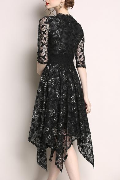 Leaf Embroidered Round Neck Half Sleeve Gather Waist Asymmetric Hem Lace Midi Dress