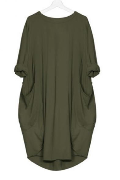 Loose Round Neck Long Sleeve Plain Midi A-Line Dress