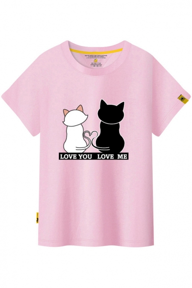 Letter Printed Sleeve Cat Short ME YOU LOVE Neck LOVE Tee Round nzZwtqX