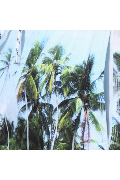 2c527fb0f458d ... Mens Blue Beach Palm Print Swim Shorts Trunks with Mesh Lined Pockets  ...
