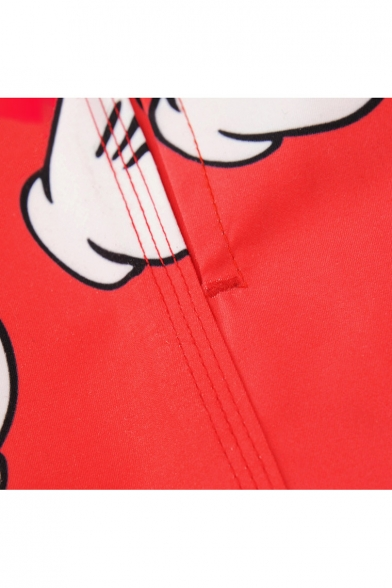 Mens Red Plus Size Cartoon Hand Pattern Bathing Shorts with Mesh Lining Pockets
