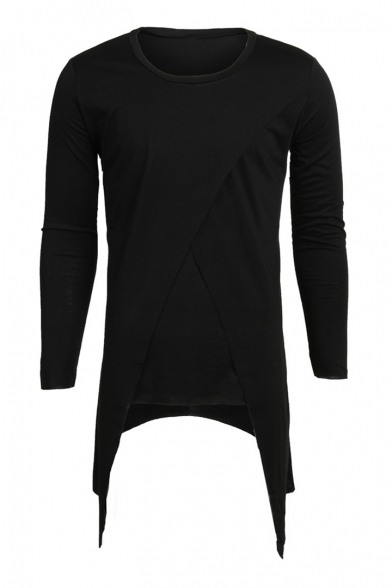 Neck Long Slim Asymmetric Round Sleeve Tee Hem Plain w4Tx6Sq