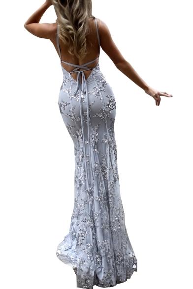 Straps Up Sleeveless Lace Back Spaghetti Party Maxi Dress Sequined Embellished ZExPqAHI
