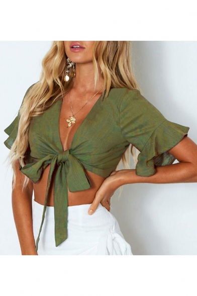 Sexy V Neck Tied Front Ruffle Detail Short Sleeve Crop Tee