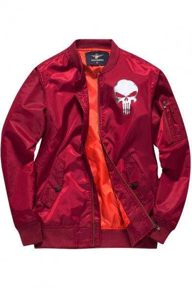 Stand Baseball Skull Coat Up Collar Printed Back Zip Up Sleeve Long qwwAEzHS