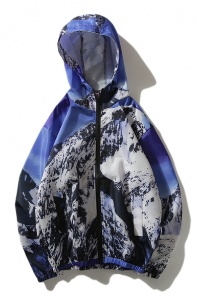 Long Mountain Snow Zip Up Sleeve Printed Coat Hooded qfCnBEw