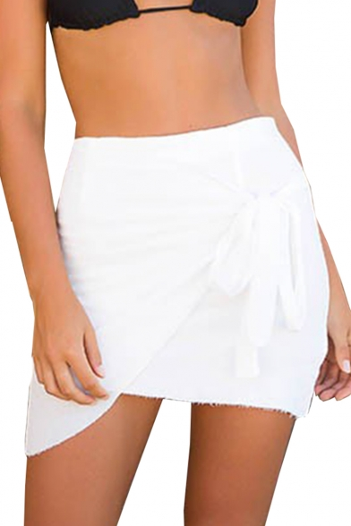 Tied Front Plain Mini Asymmetric Hem Skirt