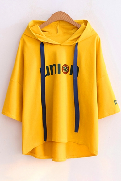 Low Tee Sleeve Hem High UNION Printed Half Letter Hooded Swxq4TCp