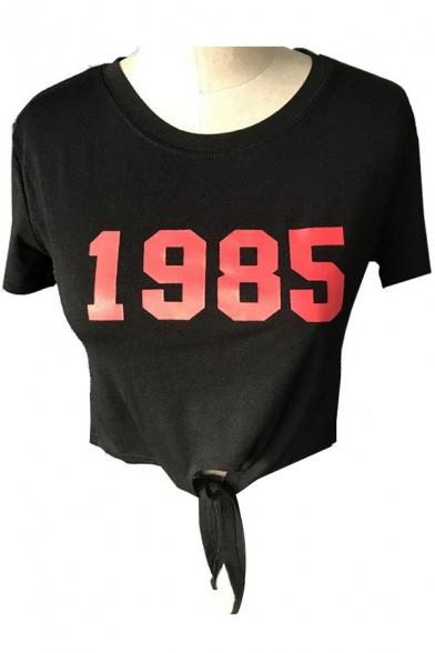 1985 Number Printed Round Neck Short Sleeve Tied Hem Crop Tee