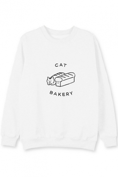 Cat Printed Long Bread Sleeve Neck Sweatshirt Round 66Arwq5