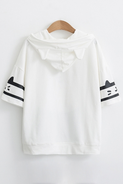 Cat Japanese Contrast Striped Printed Short Sleeve Hooded Tee
