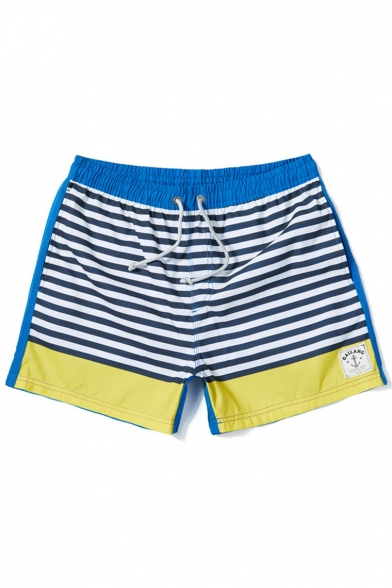 930e003d05 Classic Quick Drying Drawstring Blue and Yellow Striped Pattern Swim Trunks  for Male with Pockets ...