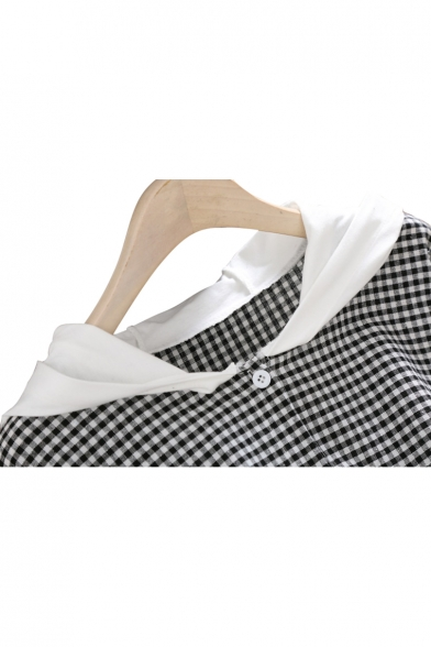 Midi Hood Color Sleeve Plaid Down Buttons Dress Short A Block Printed Line O4UHwx8U