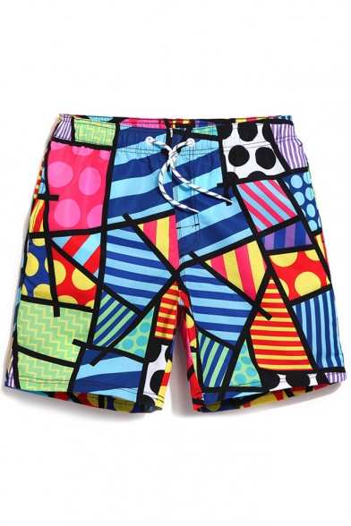 Colorful Abstract Color Block Pattern Swim Shorts Trunks with Pockets and Drawstring