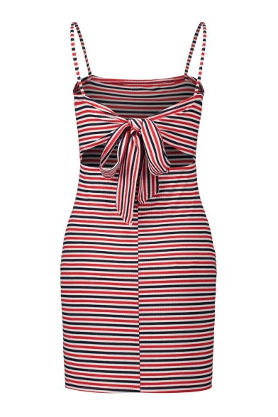 Colorful Striped Printed Spaghetti Straps Sleeveless Hollow Out Back Mini Cami Dress