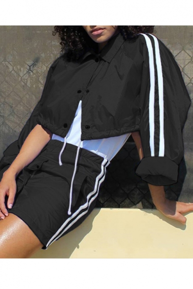 Contrast Braid Panel Lapel Collar Long Sleeve Buttons Down Drawstring Hem Crop Coat