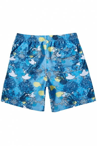 Designer Blue Coral Fish Pattern Swimming Shorts for Men with Drawstring and Pockets