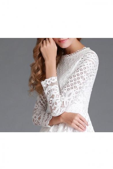Elegant Round Neck Long Sleeve Plain Midi A-Line Lace Dress