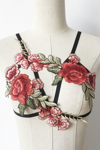Out Harness Floral Embellished Hollow Bra Straps Embroidered Top wxSFqP