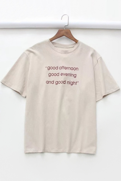 GOOD AND Neck Letter GOOD Round AFTERNOON Tee Printed Sleeve NIGHT GOOD EVENING Short x4SI1q