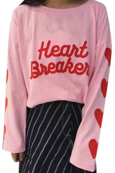 Printed Long Heart Sleeve Round Tee Letter Neck 8nxpwH0Rp