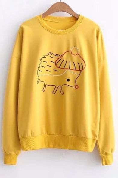 Long Hedgehog Sleeve Embroidered Neck Round Sweatshirt xqqHY6ZwC