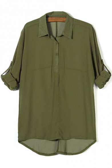 Lapel Collar Long Sleeve Buttons Embellished Loose Chiffon Blouse