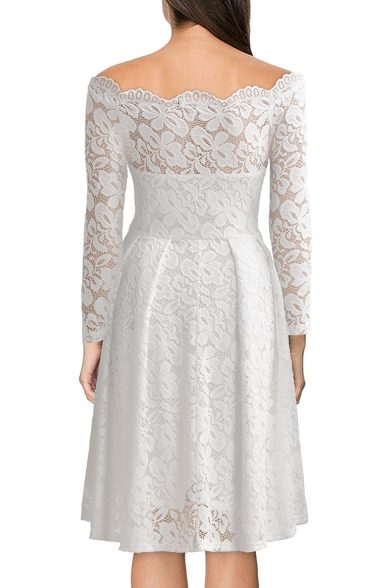Midi Off Line Long Dress Shoulder A The Sleeve Lace 7RnqZwHRx