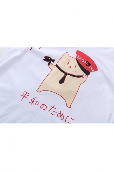 Short Hooded Police Printed Tee Sleeve Japanese Cat PrqWqp76t