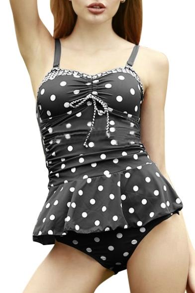 Polka Dot Printed Spaghetti Straps Sleeveless Two Pieces Swimwear