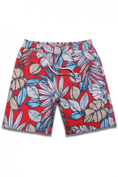 Quick Dry Big and Tall Mens Red Leaf Plant Print Bathing Suit Shorts with Brief Mesh Liner