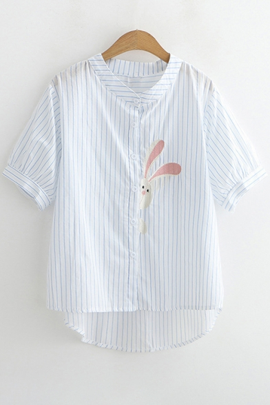 High Sleeve Collar Short Low Hem Stand Shirt Stripes Rabbit Embroidered TPqCwCY