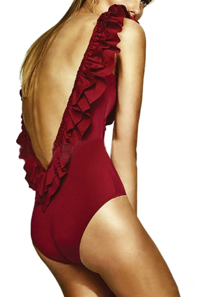 Piece Plain One Detail Round Swimwear Ruffle Sleeveless Neck w6YxSqt