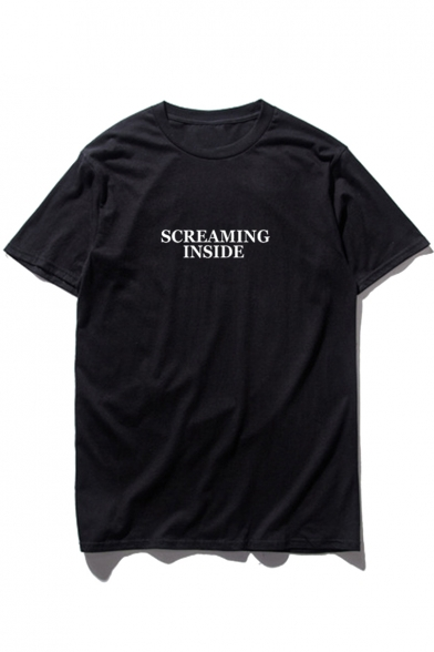SCREAMING Tee INSIDE Short Neck Sleeve Round Letter Printed 0rXq0d