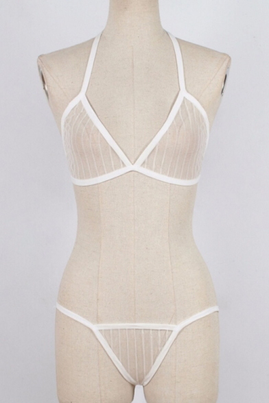 Striped Mesh ords Bralet Halter Sheer Co Sexy v7xfaqf