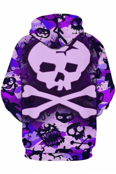 Street Block Sleeves Fashion Long Print Pullover Skull Hoodie Popular Color AIIWxrn