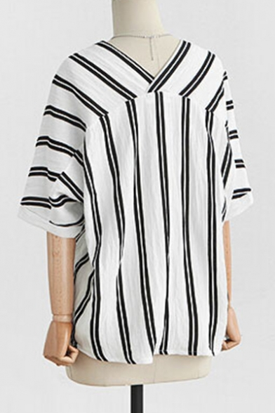 d5ad056ac ... Striped Printed V Neck Short Sleeve Buttons Down Shirt Blouse