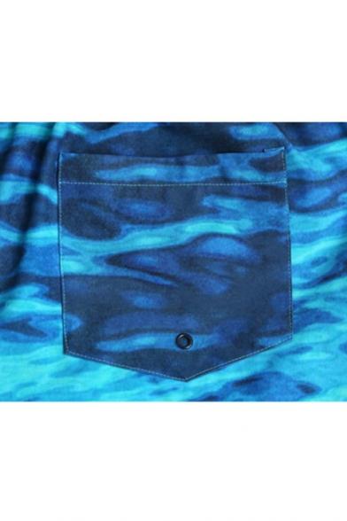 Stylish Designer Blue Men's Underwater Waterscape Swim Shorts Trunks with Mesh Brief