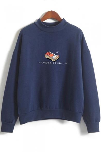 Sushi Japanese Printed Round Neck Long Sleeve Sweatshirt