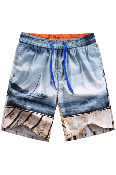 Unique Big Mens Blue Sea Boat Printed Beachwear Swimming Shorts without Lining with Pockets