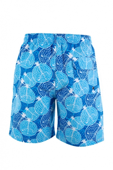 Unique Blue Fast Drying Pomegranate Fruit Print Stretch Bathing Trunks Men with Hook and Loop Pockets
