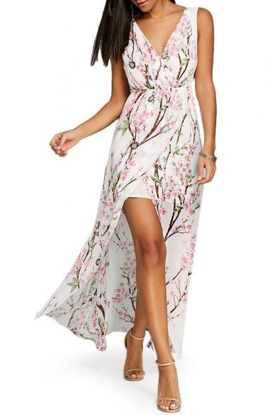 3455e529d987 V Neck Sleeveless Floral Printed Split Front Maxi Asymmetrical Dress -  Beautifulhalo.com