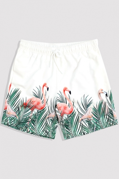 White Mens Quick Dry Summer Drawstring Flamingo Tropical Print Beach Shorts with Mesh Liner