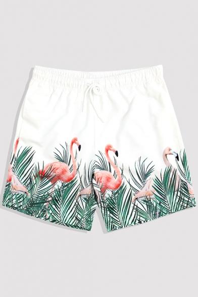 4b8c38d246 Swimwear > · Swim Trunks. White Mens Quick Dry Summer Drawstring Flamingo  Tropical Print Beach Shorts with Mesh Liner ...