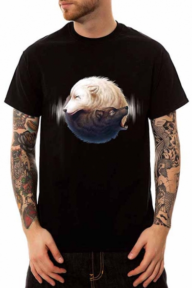 Round Printed Short Wolves Neck Tee Sleeve 10gUqx5