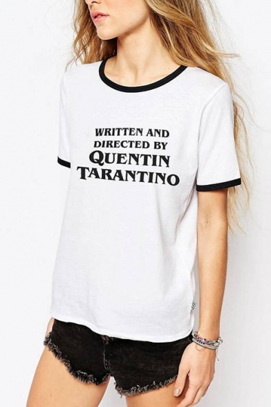Short Letter Tee AND WRITTEN Neck Contrast Trim Round Sleeve Printed DIRECTED 86W4WnvR
